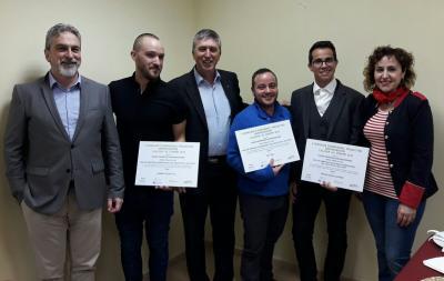 Los premiados CEEI-Mancomunitat con el Conseller de Economía y la Directora General de IVACE
