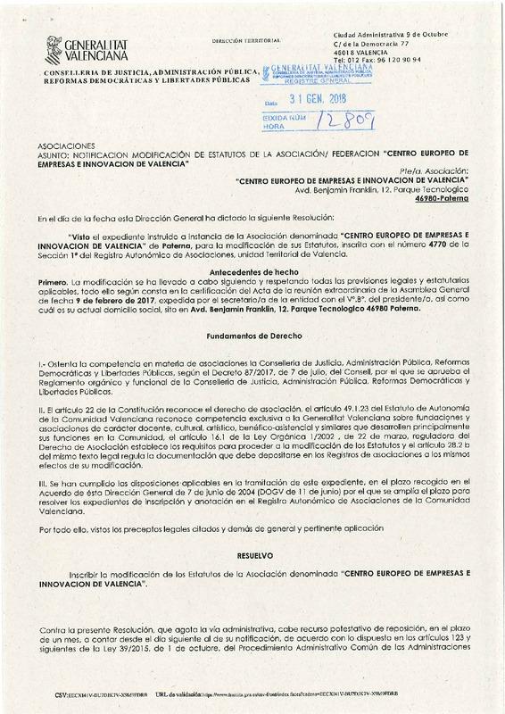 Estatutos CEEI Valencia