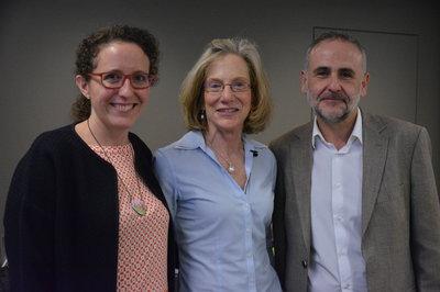 Maribel Acien,  CMO de 3DST izquierda, junto a Nancy Levy de Boston Landing US y su socio  y CTO en 3DST, Miguel Sánchez