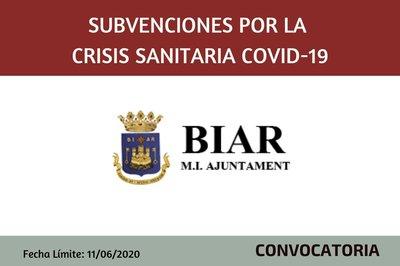 Subvenciones por la crisis Covid 19 del Ayuntamiento de Biar
