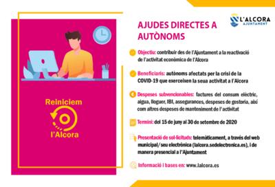 l'Alcora -  Convocatoria de ayudas dirigidas a autónomos y a la renovación de negocios