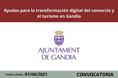 Ayudas para la transformación digital del comercio y el turismo en Gandía