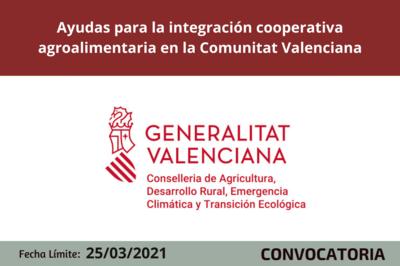 Ayudas para la integración cooperativa agroalimentaria en la Comunitat Valenciana