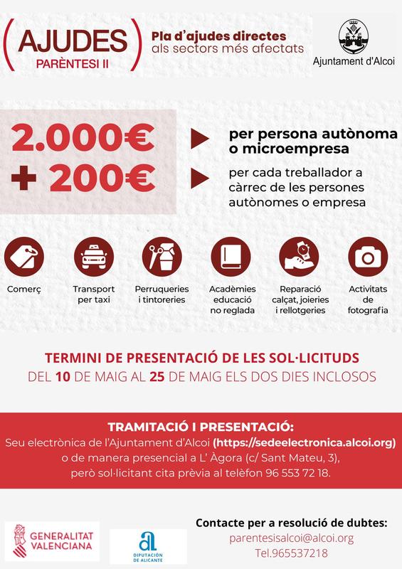 El Ayuntamiento de Alcoy destina 730.000 euros en ayudas a sectores afectados por la Covid